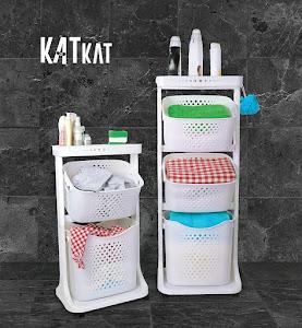 Organizator alb Kat Kat Basket, 43.7 x 33.2 x 112 cm