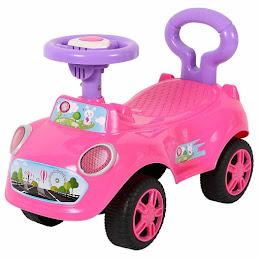 Premergator pentru fete, masinuta cu volan, roti mari si spatar de siguranta, sunete