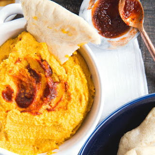 Harissa Pumpkin Hummus with Homemade Pita.