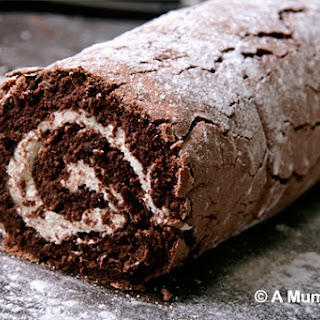 Mary's Chocolate Roulade (no flour, Great British Bake Off recipe).