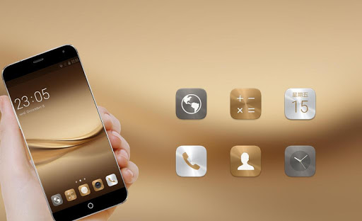 Free Download Theme for Huawei P8 & P10 Gold Wallpaper Icon Pack APK