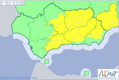Mapa previsto por la Aemet para este martes.