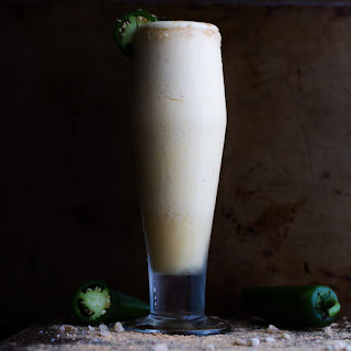 Frozen Pineapple Painkiller Margarita with Ginger and Jalapeño.