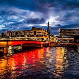 Moody skies and bright lights ! by Gordon Bain - City,  Street & Park  Night ( dawn, moody sky, scotland ., inverness )
