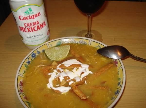 Tomatillo Soup & Fried Tortilla Strips, Caldo De Tomatillo Con Tortilla Frita