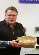 Photo: Dick also brought this very interesting bowl made, as an experiment, from laminates (plywood!). The glue really dulls tools quickly.