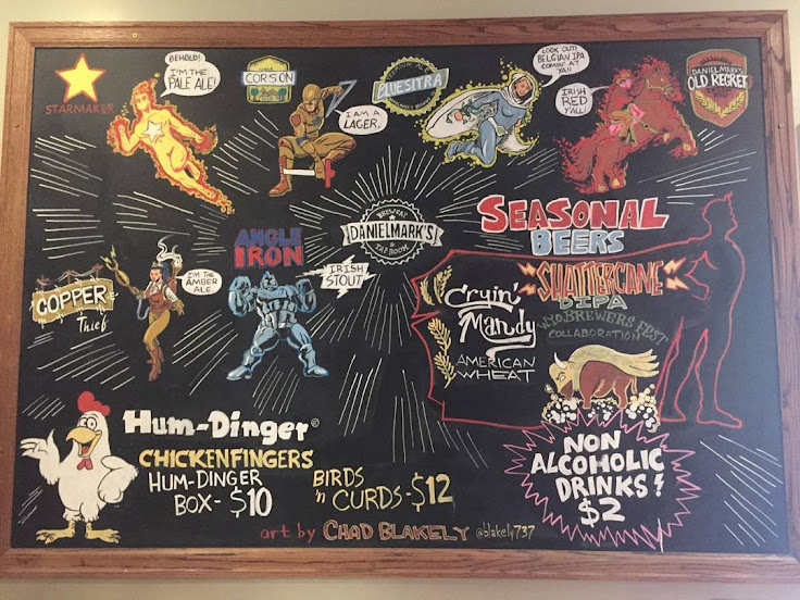 The menu board of superhero beers. Photo: Danielmark's.