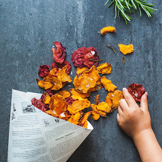 Crispy Rosemary Beet + Sweet Potato Chips