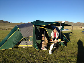 """Photo: The Garretts With Their New Tent, """"The Smiley Creek Convention Center"""""""