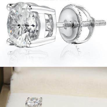 50份美國莫桑純銀厚鍍鉑金耳環
