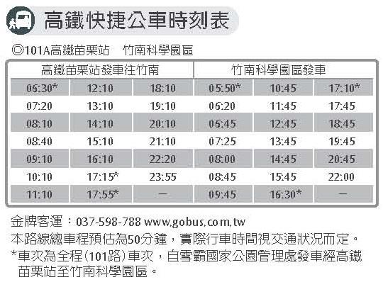 苗栗高鐵站2號出口,請找101A 接駁車 THSR Shuttle Bus 101  THSR Miaoli Station-Jhunan Science Park