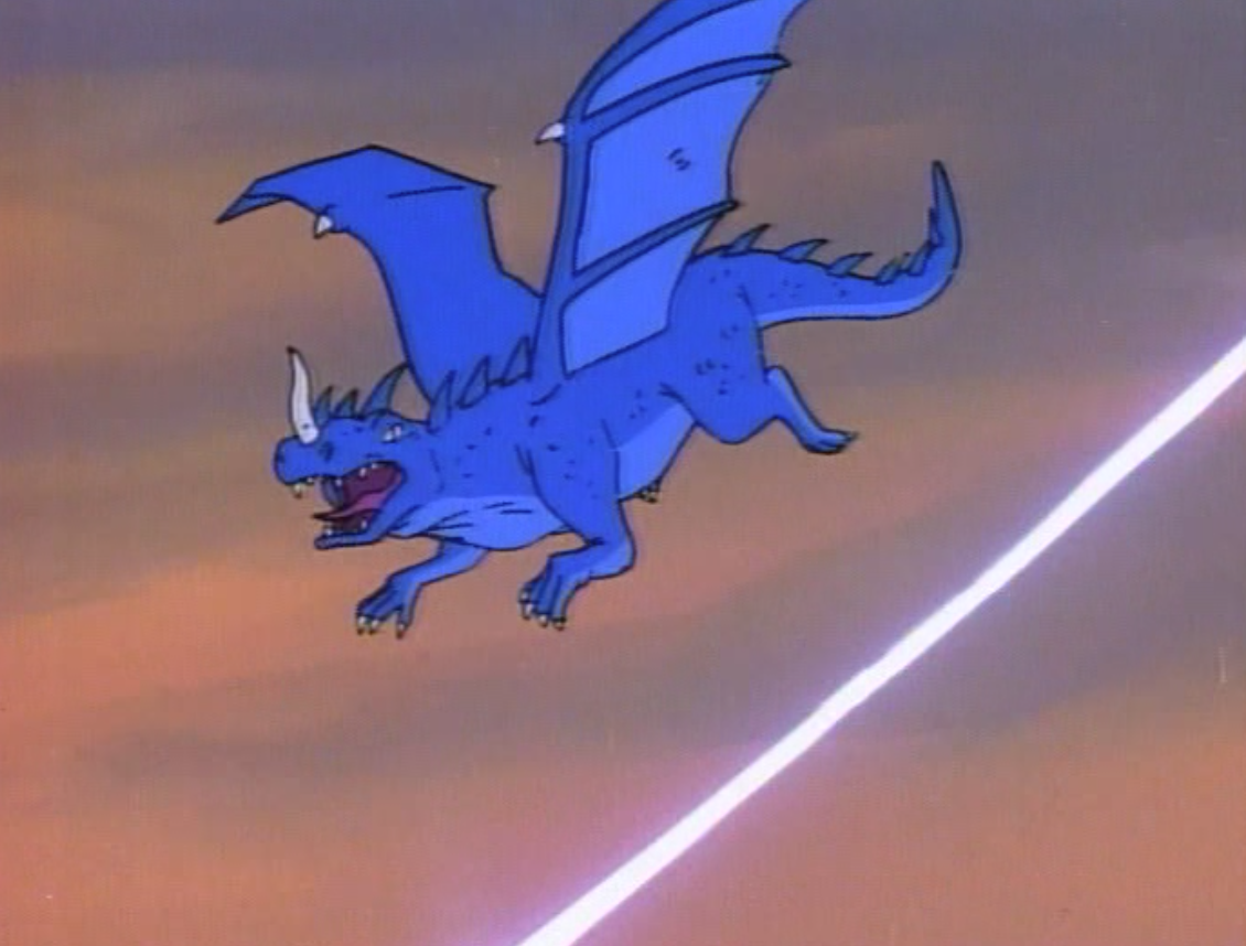 A blue dragon, shot at by a laser