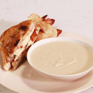 Creamy Apple and Celery Root Soup with Grilled Cheddar, Bacon and Apple Honey Mustard Sandwich.