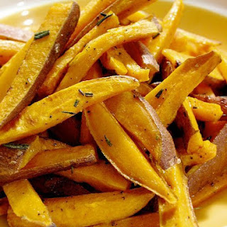 Roasted Sweet Potato Sticks with Rosemary