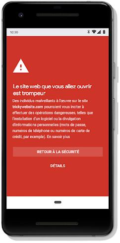 Alerte de navigation sécurisée sur un mobile