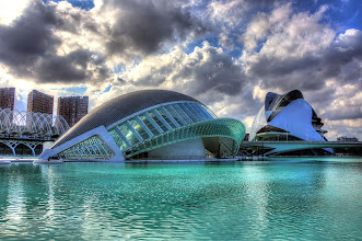 Photo: More structures in Valencia by Santiago Calatrava.  Museum in foreground, Opera House in back.