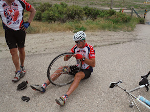 Photo: Day 20 Riverton WY to Casper WY 120 miles 2500' of climbing: Guess who has another flat, Jim says he is working on the fruits of the Holy Spirit, love, joy, peace, PATIENCE, kindness, goodness, and SELF CONTROL.