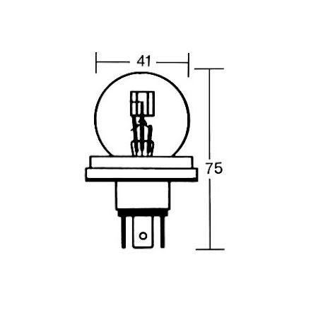 R2 bulb 6V 45/40W P45T