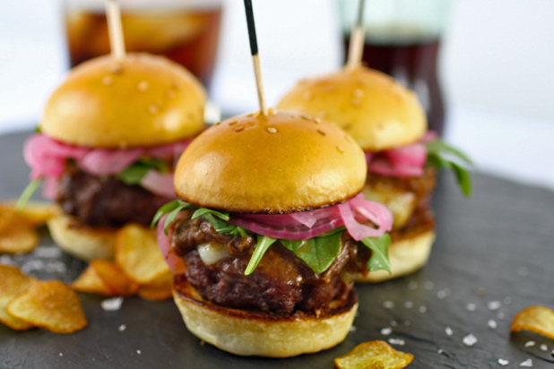 Photo: Braised Short Rib Sliders with Pickled Red Onion, Arugula, and Gruyère: http://www.thedailymeal.com/11-sexy-slider-recipes-slideshow#4