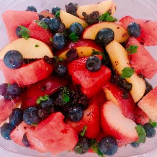 Summer Fruit Salad with Honey Lemon Dressing.