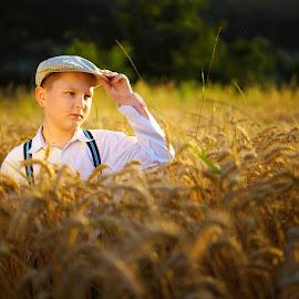 Golden boy  by Hurghis Vasile - Babies & Children Child Portraits ( lights, nature, still life, boy, people, golden, portrait )