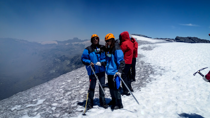 At the top of the villarrica volcano in pucon chile
