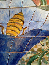 Photo: Saturday, July 20, 2013 Hidden Garden Steps ceramic-tile mosaic preview at St. John of God community hall in San Francisco's Inner Sunset District: Detail of bee, on the third large flight of stairs from the bottom of the Hidden Garden Steps. Project artists Aileen Barr and Colette Crutcher completed this element as part of the 148-step mosaic to be installed on 16th Avenue, between Kirkham and Lawton streets in San Francisco. For more information about the Hidden Garden Steps project, please visit http://hiddengardensteps.org.