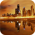 Mysterious city. Chicago night icon