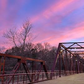 Glendale Sunset by Teresa Solesbee - Buildings & Architecture Bridges & Suspended Structures ( spring, sunset, iron bridge, bridge, iphone )