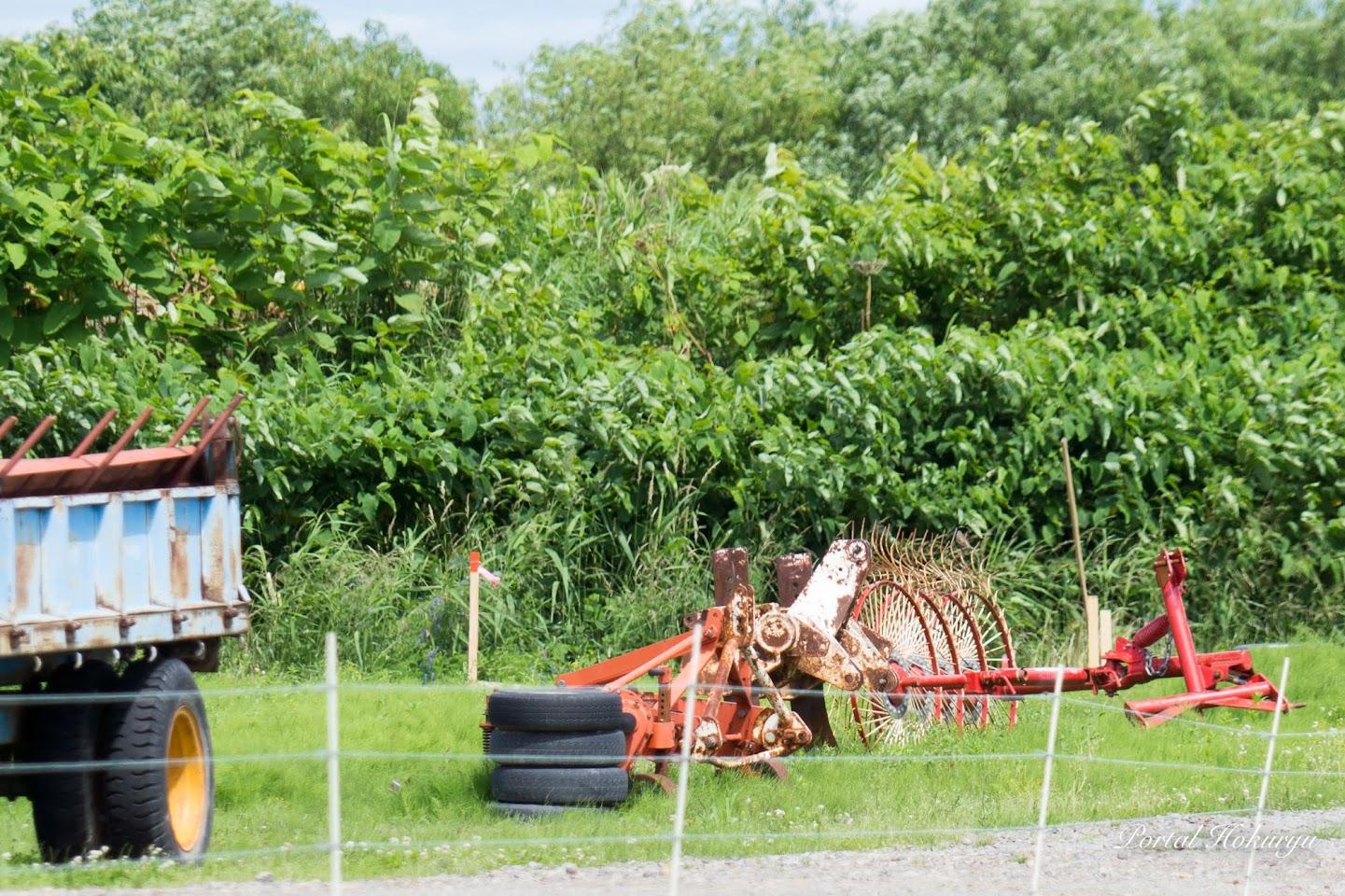 圃場にバラ落としした稲ワラを収集するアタッチメント