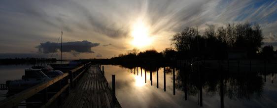 Photo: Puddemin - Hafen - Blick auf die Puddeminer Wiek mit Sonnenuntergang
