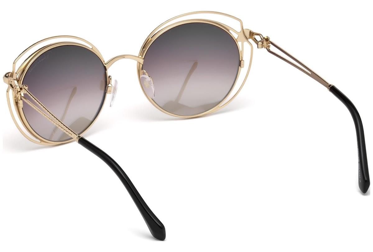 Roberto Cavalli RC1030 Cascina Sunglasses 55 28G Shiny Rose Gold Brown Mirror