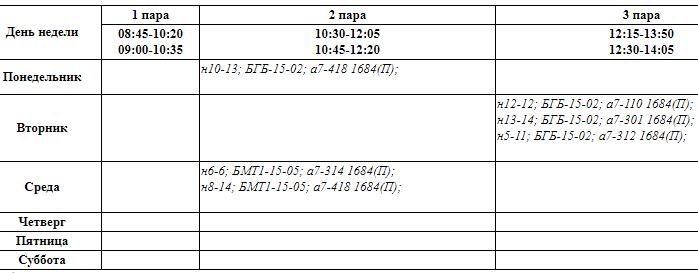 Расписание занятий Алтыновой Р.Р,