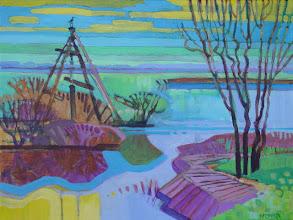 "Photo: Kayak Cove at Big Break, acrylic on canvas 12"" x 16"" by Nancy Roberts, copyright 2014."