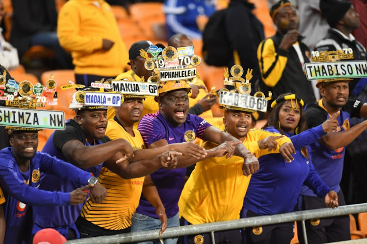 Kaizer Chiefs Fans during the Absa Premiership match between Kaizer Chiefs and Bidvest Wits at FNB Stadium on August 07, 2018 in Johannesburg, South Africa.