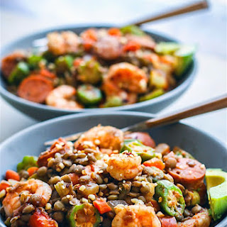 Lentil Shrimp Jambalaya Bowls.