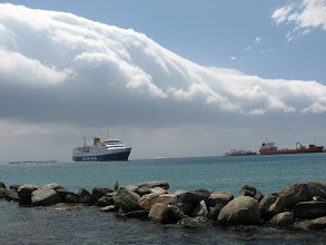 Photo: The wind inside ferry harbour Tinos