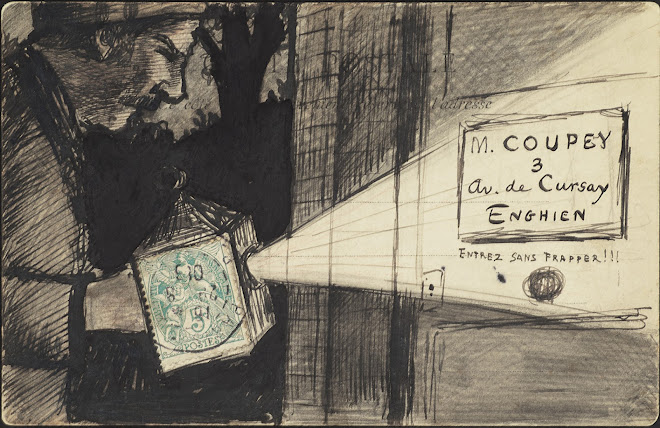 <p> <strong>L&eacute;on Coupey<br /> To M Coupey (Enghien)</strong><br /> Ink on card<br /> 3 &frac12;&quot; x&nbsp;5 &frac12;&quot;&nbsp;<br /> 1906</p> <p> Collection Annik Coupey-Smith, Eastbourne, UK<br /> Set 7B.1</p>