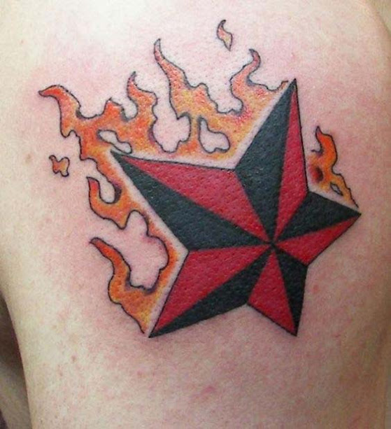 Fire flames with nautical star tattoo designs