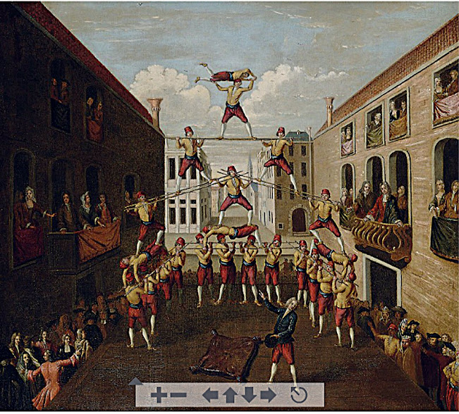 Balthasar Nebot, The Forze D'Ercole; the Castellani acrobats in a Venetian piazza.