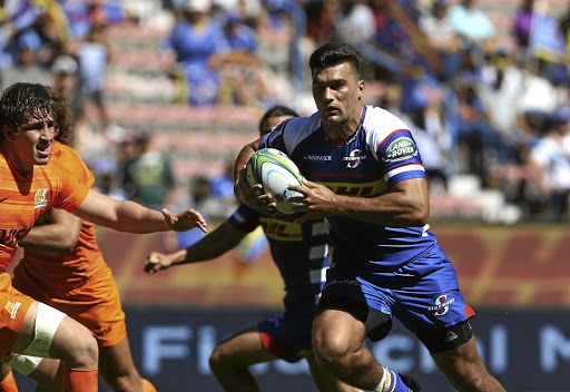 On the charge: Stormers centre Damian de Allende scrummed down at flank at the end of the game as the Jaguares threatened to upset the home side. Picture: GALLO IMAGES