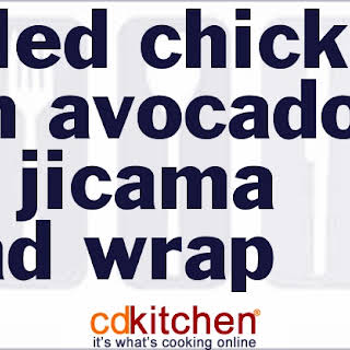 Grilled Chicken With Avocado And Jicama Salad Wrap.