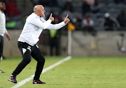 Highlands Park head coach Owen Da Gama reacts on the touchline during a Absa Premiership match against Orlando Pirates at the Orlando Stadium, Soweto on August 4 2018.