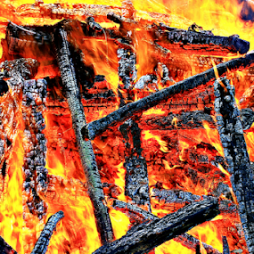 Burn! by Alfred Encallado - Abstract Fire & Fireworks ( timber, orange, hot, burn, burning, fire )