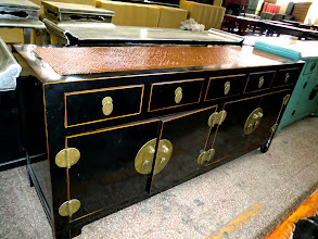 "Photo: F 005 Black Lacquer Cabinet with Bamboo Top  70""W x 20""D x 31.5""H Price $1,000"