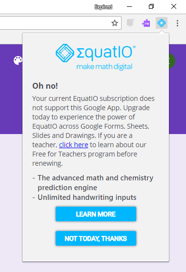 Oh no! Error message of EquatIO showing no premium license