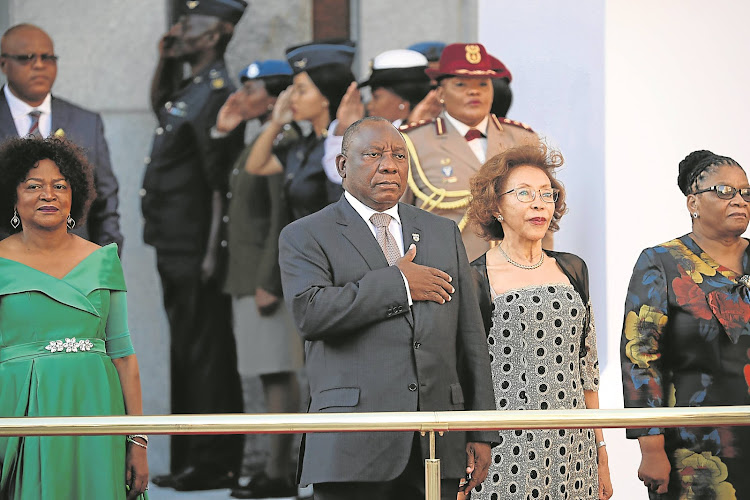 Cyril Ramaphosa sings the national anthem before delivering his State of the Nation address in Cape Town on Thursday.
