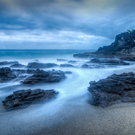 Sureal Beach by Joey Rico - Landscapes Waterscapes ( sky, ocean, rocks, beach, clouds, water, sea )