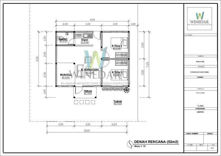 Denah 2D Rumah 1 Lantai