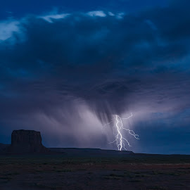 Monument Valley Lightning by Sarah Shinners - Landscapes Weather ( thunderstorms, monument valley, lightning, desert, utah, desert southwest, weather, storms, landscape )